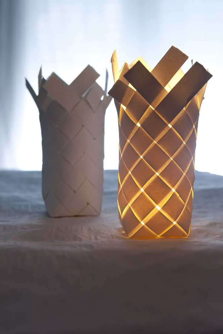 Woven paper lamp  in foreground?  Porcelain in back?  from papieraetres.com