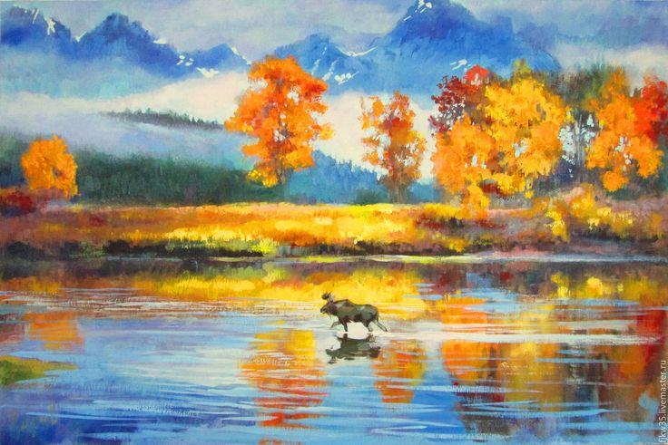 """Купить Картина маслом """"Лосиный путь"""" - комбинированный, купить картину маслом, купить картину"""