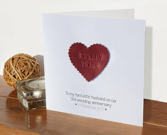 3rd Wedding Personalised Anniversary Card Leather 3 Years Etsy Anniversary Cards Handmade Personalized Anniversary Cards Anniversary Cards