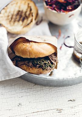 Burgers au rôti de bœuf & sauce chimichurri
