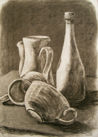 Still Life, charcoal rub out