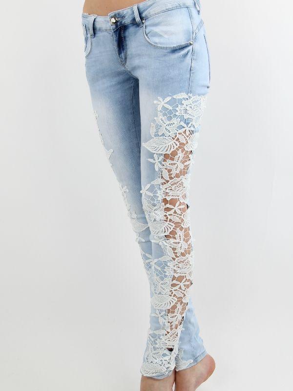 Lucia - Lyse blå jeans med blonder