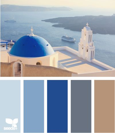 Santorini View: Ocean Water Blue, Faded Blue Jean Blue, Bright Blue, Gray and Sandy Tan