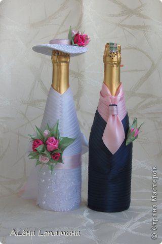 Декор предметов День рождения Свадьба Цумами Канзаши Первые свадебные бутылочки  Бусины Ленты фото 2