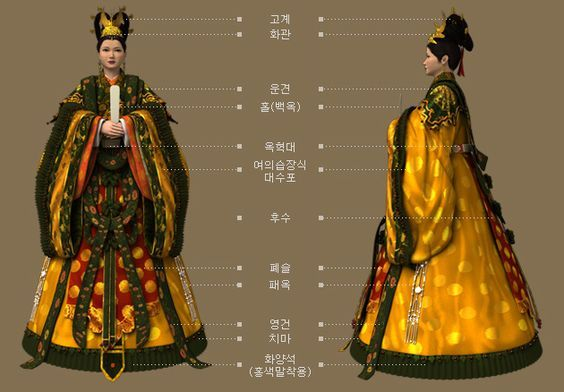 Goryeo Dynasty(AD918-1392) Korean traditional clothes #hanbok 황후의 대례복. - 문화콘텐츠닷컴 Hmm, there are some similar elements to Japanese yet it's still a complete own style...