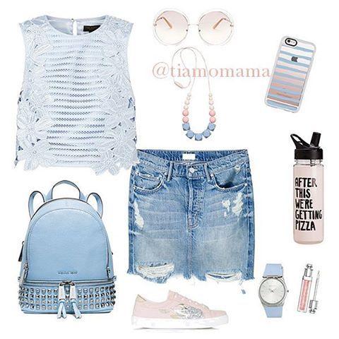 Сегодня мы покажем вам образ в рубрике #look_tiamomama, в который идеально ☝вписываются наши #силиконовыебусы Итак: ⚬Женственный кружевной топ от #tedbaker ⚬Короткая джинсовая юбка, которая есть практически у каждой женщины ⚬Кеды от #topshop ⚬Удобны для прогулок кожаный рюкзак от #michaelkors ⚬Прикольные очки от #chloe и бусы #tiamomama в розово-голубом варианте завершат образ.  Enjoy!