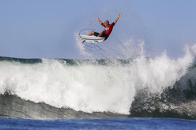 Kelly Slater boosting his way to a win on day 2 of the Hurley Pro Trestles