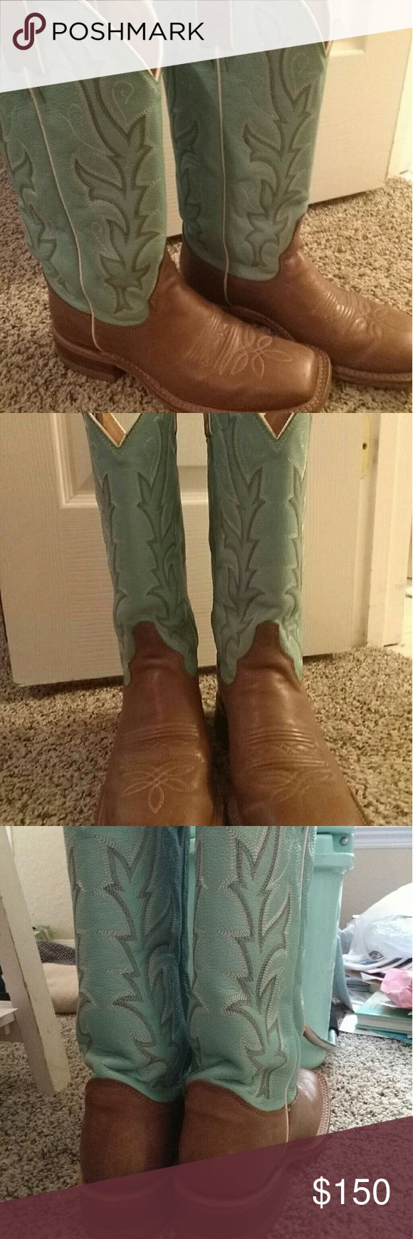 Justin boots Mint green, square toe Justin Boots Shoes
