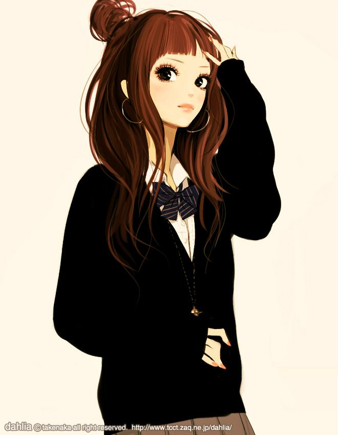 Female Brown Hair Black Eyes Long Hair Solo Zerochan