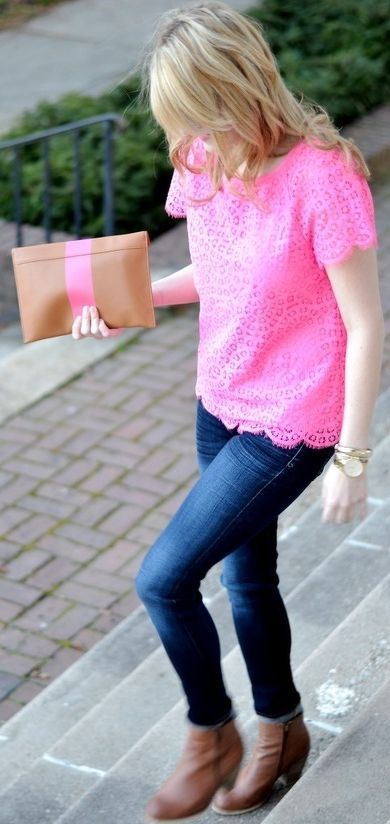 Pink sweater + blue jeans + brown boots + pink/orange clutch