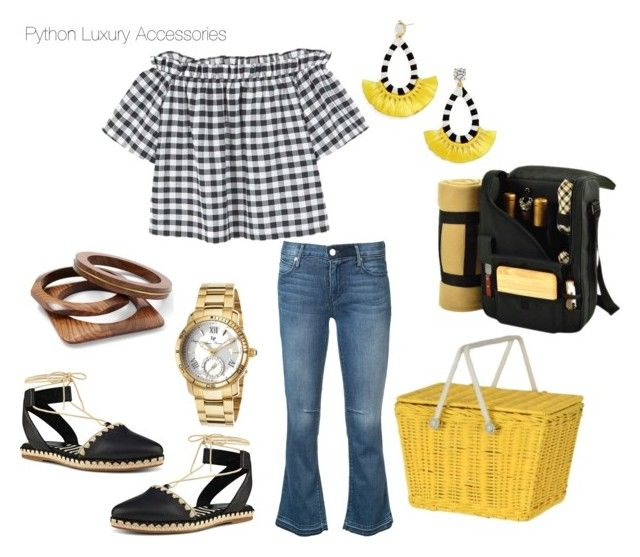 """""""Picnic Pimpin'"""" by pythonluxuryaccessories on Polyvore featuring MANGO, RtA, Nine West, Olli Ella, BaubleBar, Picnic at Ascot, Venus and Lucien Piccard"""