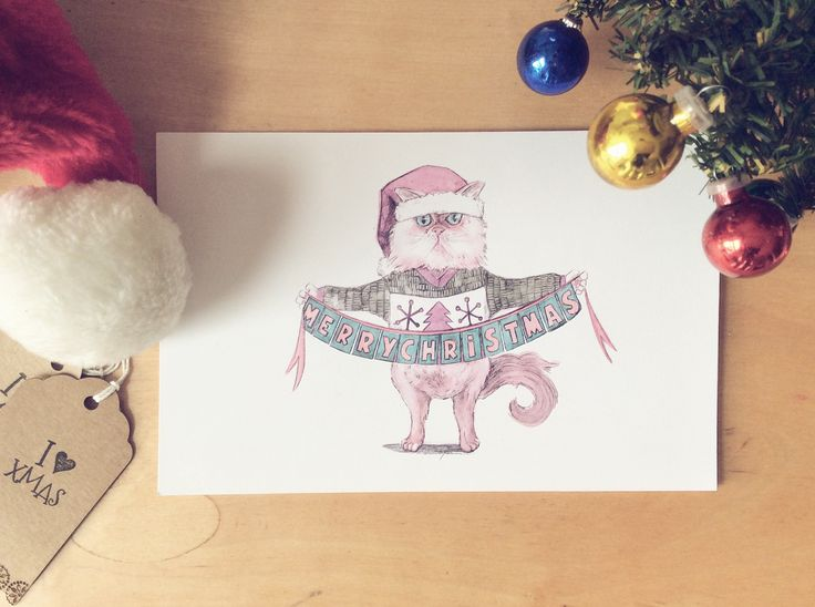 Cutie mad funny cat for christmas cards
