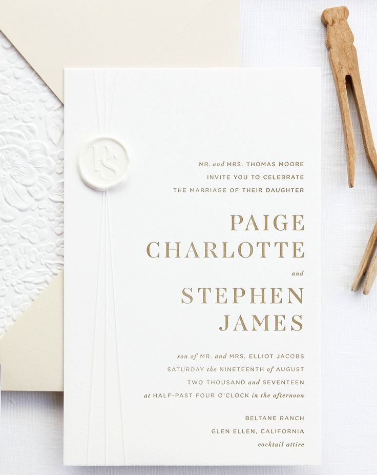 Refined Modern Neutral Letterpress Wedding Invitations
