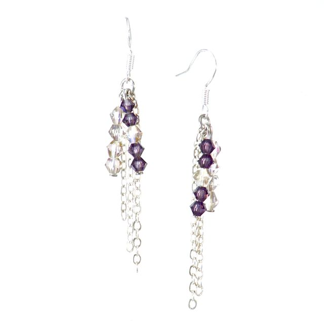 AMETHYST DREAM Beautiful genuine Bicone Swarovski Crystals in tones Amethyst and Aurora Borealis layered with Sterling Silver Rolo Chain on a Sterling Silver earring hook. *Custom Orders Available* CA $24.95 http://pursuademe.com/shop/?id=34