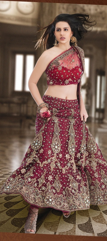 Best seller lehenga .........Be Your Own Style Diva With This Brick Red Net Lehnga Choli. The Antique Zardosi, Bead, Bugle Beads/ Cutdana, Embroidery With Stones/Crystals, Lace................  Available at-> http://www.indianweddingsaree.com/product/72129.html