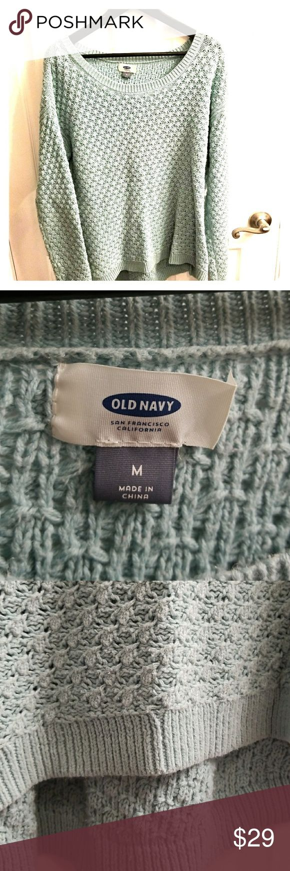 Adorable Knit Sweater Accepting Offers. Muted teal or mint knitted sweater size M. Longer in the back, great with leggings. No loose threads. Very mild pilling in armpits, see photos. Honestly could gently pluck them off. I would rate the sweater in very good condition. Old Navy Sweaters