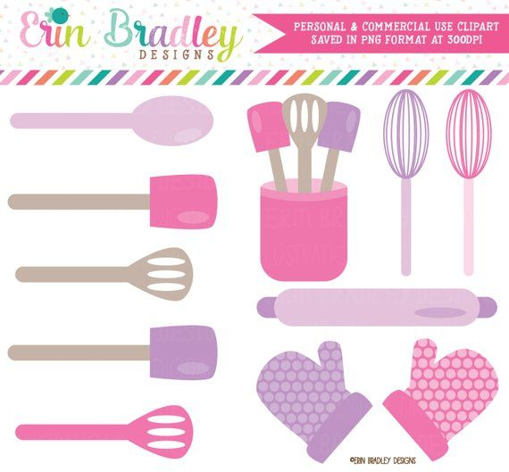 Baking Kitchen Clipart Graphics Pink Purple Cooking Utensils Etsy In 2021 Kitchen Clipart Clip Art Cooking Classes For Kids
