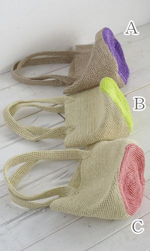 Free Japanese diagram download for a raffia crochet bag.