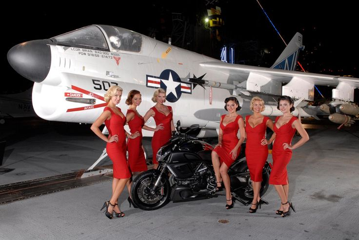 Photo: Ducati Diavel Cromo, A-7 Corsair II, and 60′s Female Flight Attendants