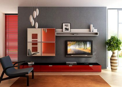 Minimalist Furniture Decoration with TV in Small Living Room Decorating Design Ideas 2012