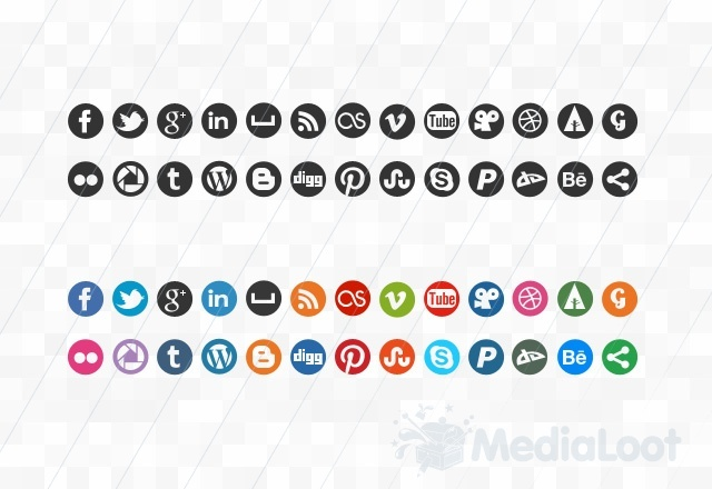 A new free social media icon set with Pinterest icon: round 32 x 32 px icons in vector and png formats. Attribution required for free license.