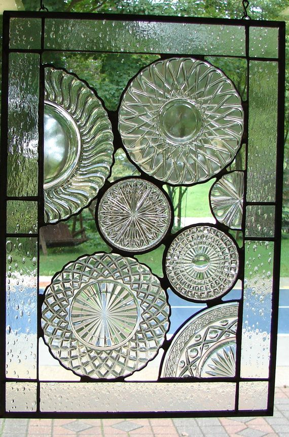Vintage Crystal Plate panel stained glass by Barbarasstainedglass
