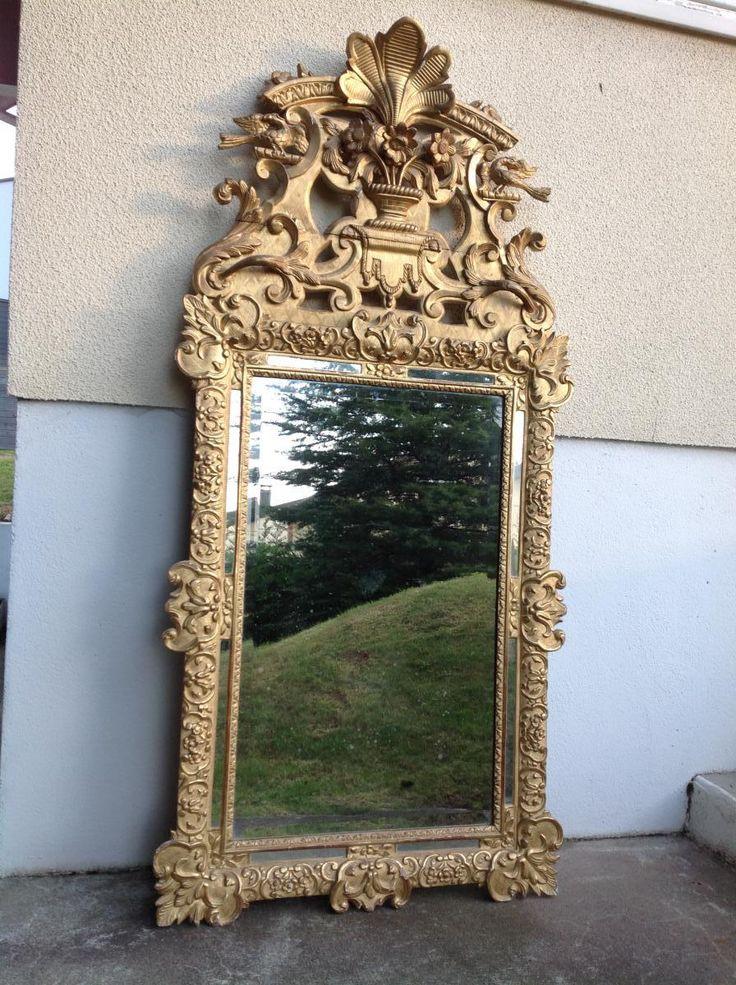 Immense Miroir Regence , 1,90 M , En Bois Doré , XVIIIe, Galerie Leroy Nadia, Proantic