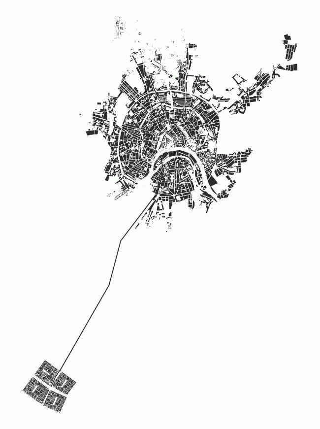 Беляево 2050. Дипломный проект Василия Гончарова и Светланы Дудиной. Студия архитектурного бюро «Меганом». Руководитель: Артём Стаборовский. Ситуация. МАРХИ, 2016