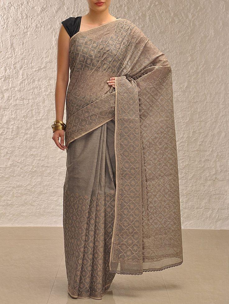 Buy Rust Black Tepchi Kota Cotton Saree Sarees Embroidered Online at Jaypore.com