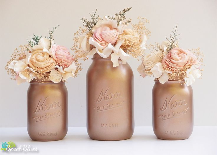 Rose Gold Decor Painted Mason Jars Fall Home Decor Wedding Vase Centerpiece by BeachBlues on Etsy https://www.etsy.com/listing/251370321/rose-gold-decor-painted-mason-jars-fall