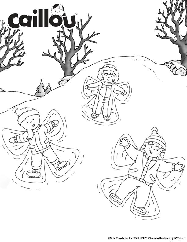 making snow angels coloring pages | 56 best 25 Days of Caillou! images on Pinterest | Caillou ...