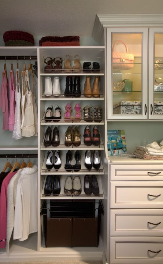 When you open your closet, are you greeted by a pile of shoes on the floor? Here are a few ways that you might be able to tame your shoe-clutter monster. http://www.closetdesignsandmore.com/how-to-store-your-shoes