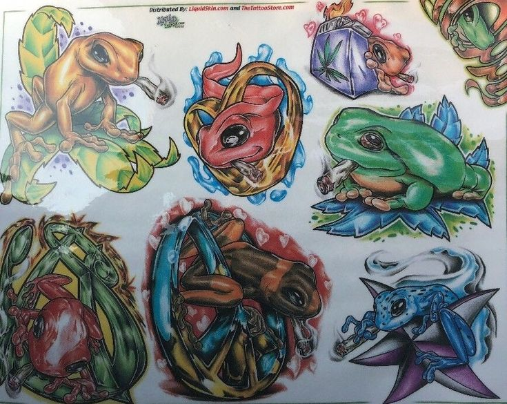 Tattoo Flash Art Laminated Sheet Ink Master Frog Toad