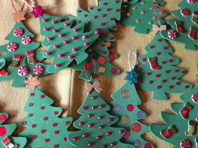 #DIY Christmas Decorations - Decorazioni Natalizie Fai da Te per l'albero di Natale - decorazioni in gommapiuma facili da realizzare con i bambini