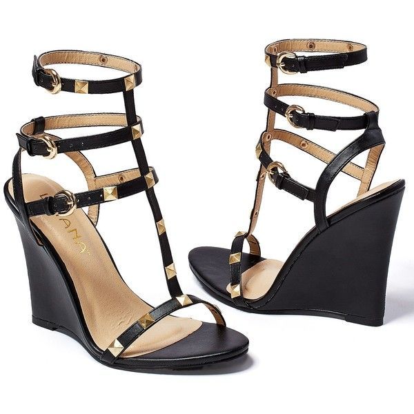 Venus Women's Studded Gladiator Wedge ($39) ❤ liked on Polyvore featuring shoes, sandals, heels, wedges, black, studded gladiator sandals, studded sandals, black shoes, high heels sandals and black high heel shoes