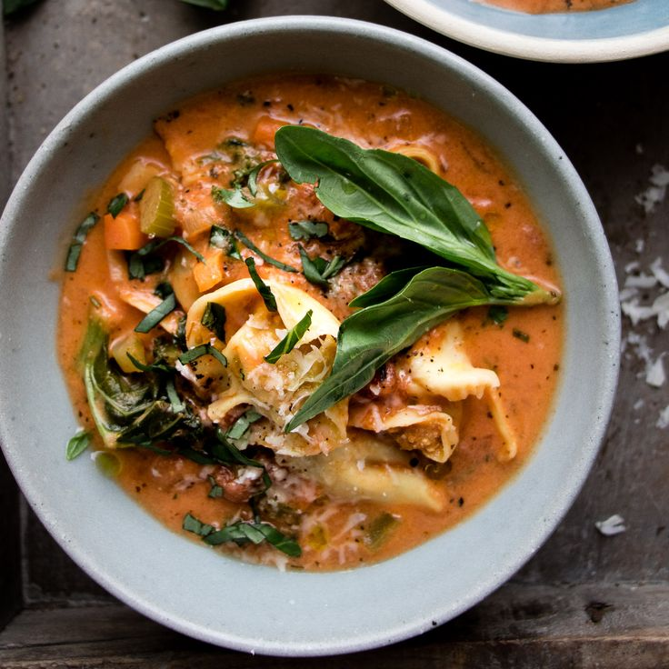 Extra Veggie Creamy Tomato and Tortellini Soup • Salted Mint