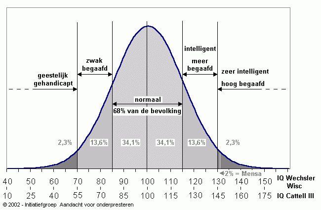 Hoogbegaafd -Waarde IQ cijfer