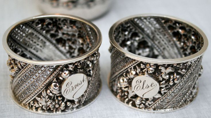 1889-90 Pr Aesthetic Victorian napkin rings, sterling silver, W Hutton, England #WilliamHuttonSons