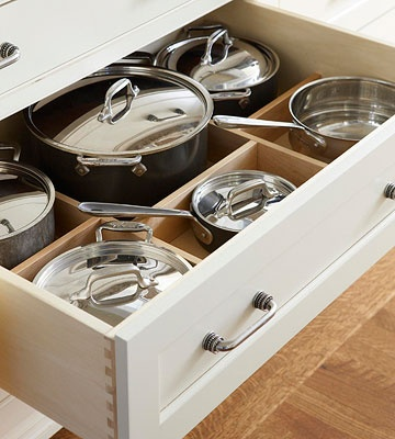 use adjustable dividers in a deep drawer to fit your go-to pots