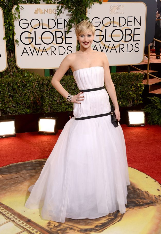 """This is the Christian Dior dress Jennifer Lawrence wore to the Golden Globes on Sunday night.   Jennifer Lawrence's Golden Globes Dress Has All Of The Internet """"Lawrencing"""""""
