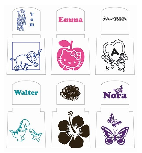 kinderstoeltje met naam en afbeelding of logo miss