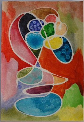 Watercolor and rubber cement: would be a cool Joan Miro connection. Art club…