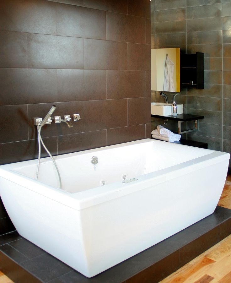Bathroom Faucet From Wall freestanding tub with wall mounted faucet | mountain land design