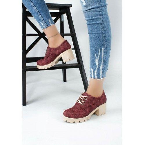 Bia Bordo Cilt Bayan Bağcıklı Oxford Ayakkabı - Sanatkardan