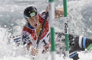 Fiona Pennie of Great Britain competes in a heat of the kayak K1 women canoe slalom. Photograph: Kirsty Wigglesworth/AP