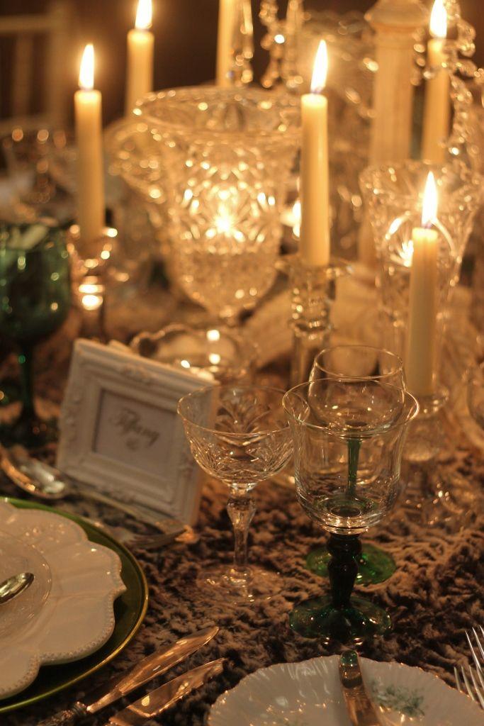 vintage vases, vintage glasses, vintage table