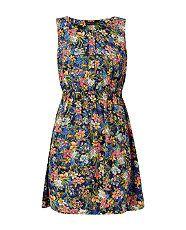 Blue Pattern (Blue) Navy Floral Print Shirred Waist Skater Dress | 316226449 | New Look