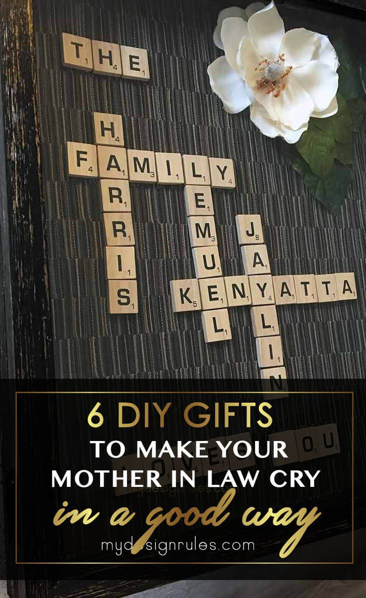 6 DIY Gift ideas to make for your mother in law, (wife, sister or friend) on Mother's Day. How to make her smile and laugh with this simple tutorial. Awesome sentimental mother's day keepsake project and budget-friendly craft. #mothersdaycraft #easydiycrafts #scrabbleart #scrabblecraft #kidcraft via @www.pinterest.com/mydesignrules