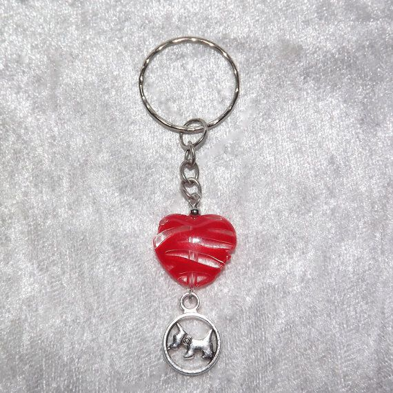 B.Long Striped Heart Scotty Dog Keyring (Red) - Free UK P&P Dog / Animal / Love /  Dog-Lover / Scottie / Keychain / Westie / Cool / Unusual