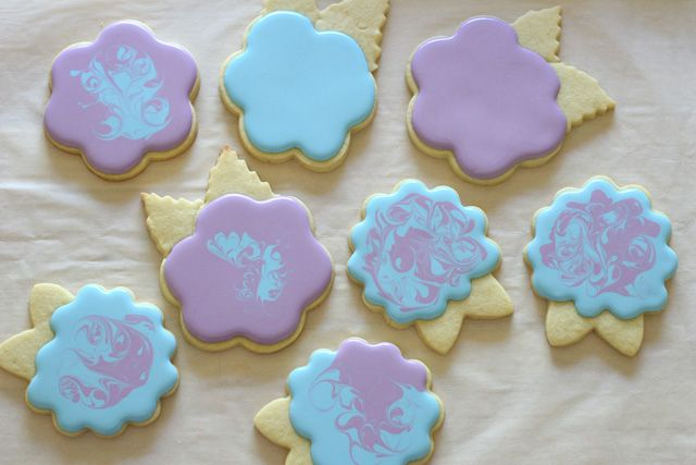 Blue and purple hydrangea cookies. Cute blend of colors.